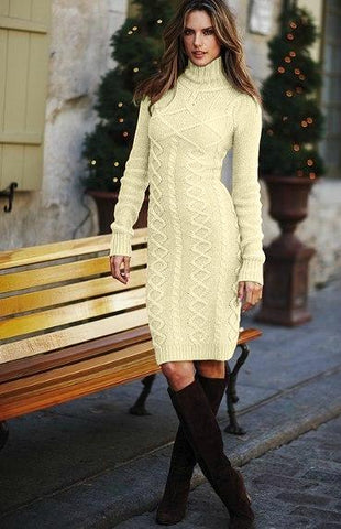 Apricot Cable Knit High Neck Bodycon Sweater Dress