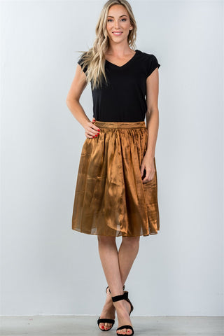 Ladies fashion mid length high waisted bronze pleated midi skirt - The Chic Woman