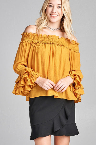 Ladies fashion long sleeve w/ruffle off the shoulder woven top - The Chic Woman