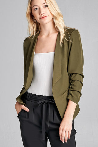 Open Front 3/4 Shirring Sleeve Jacket - The Chic Woman