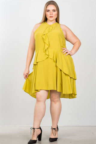 Ladies fashion plus size draped-ruffle front sleeveless swing mini dress - The Chic Woman