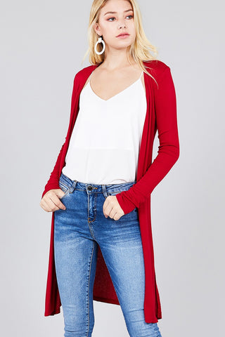 Slide Slit Tunic Length Ribbed Cardigan - The Chic Woman