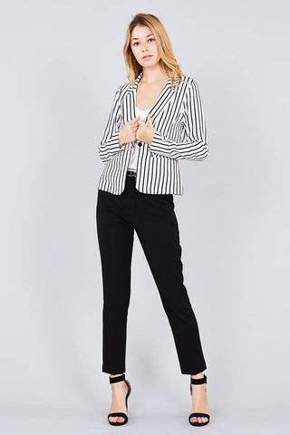 Back Slit Princess Seam Striped Jacket - The Chic Woman