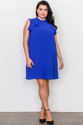 Plus Size Ruffle Tie Back Dress - The Chic Woman