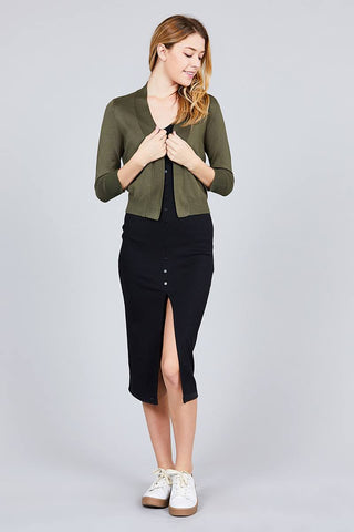 3/4 Sleeve Open Front Crop Cardigan - The Chic Woman