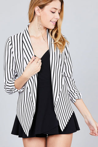Striped Shirring Sleeve Open Front Jacket - The Chic Woman