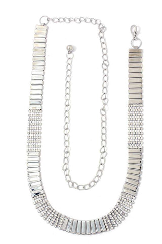 Rhinestone Metal Chain Belt - The Chic Woman
