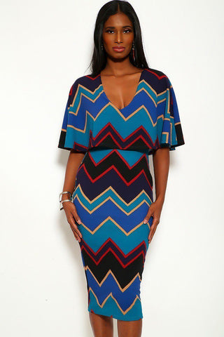 Chevron Midi Dress - The Chic Woman