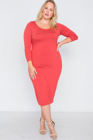 Plus Size Basic Bodycon Midi Dress - The Chic Woman