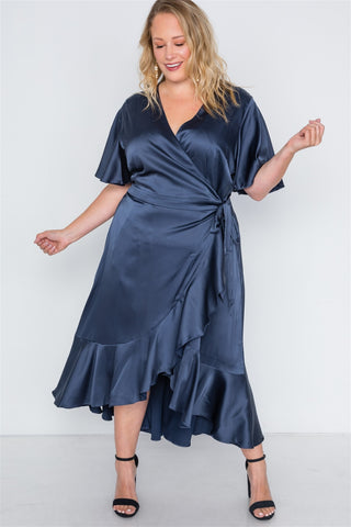 Plus Size Satin Flounce Dress - The Chic Woman