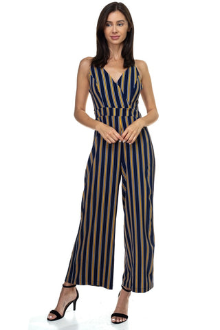 Stripe Back Self-tie Jumpsuit - The Chic Woman