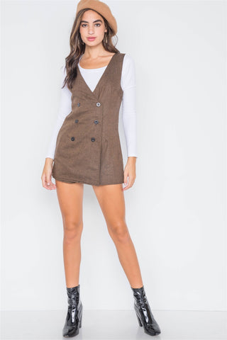 Double-breasted Sleeveless Skort Romper