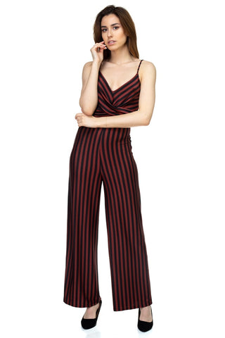 Striped Front-Twist Jumpsuit