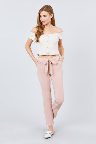 Front Ribbon Pegged Pants