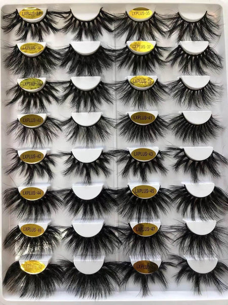 100% 5D Mink Eyelashes 25mm Wispy Fluffy Fake Lashes