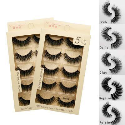 3D Mink Lashes, Mink Lashes, Real Mink Lashes, Fluffy Natural False Eyelashes 5 Pairs - omgbeautyhair