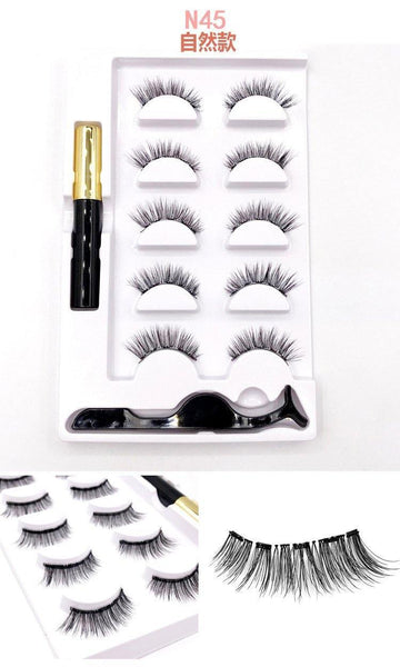 Magnetic Eyeliner Eyelashes Kit 5 Pairs Magnetic Eyelashes with Eyeliner, Tweezers - omgbeautyhair
