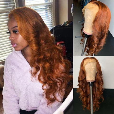 Orange Brown Lace Front Human Hair Wigs with Baby Hair Body Wave Soft Silky Hair Glueless Wig - omgbeautyhair