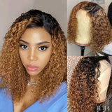 1B/27 Ombre Color Short Curly Lace Front Human Hair Wigs With Baby Hair 13x4 Lace Bob Wig 150 Density - omgbeautyhair
