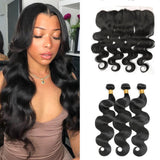Natural Color Body Wave 3 Pcs Bundles With 13×4 Lace Frontal 100% Brazilian Human Hair - omgbeautyhair