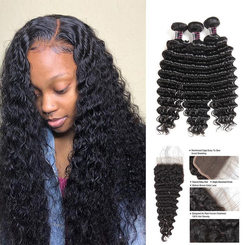 Deep Wave Bundles With Closure Brazilian Human Hair With Lace Closure Natural Color - omgbeautyhair