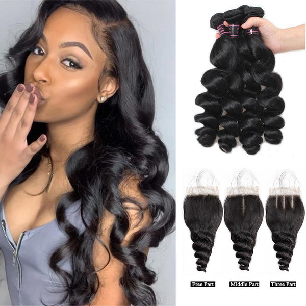 Loose Wave Bundles With Closure Brazilian Human Hair With 4×4 Lace Closure - omgbeautyhair