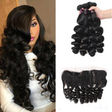 Natural Color Loose Wave 3/4 Pcs Bundles With 13×4 Lace Frontal Brazilian Human Hair - omgbeautyhair