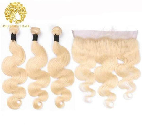 3 Pieces Body Wave 613 Blonde Hair Bundles with 13x4 Lace Frontal Closure Brazilian Virgin - omgbeautyhair