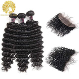 Natural Color Deep Wave 3/4 Pcs Bundles With 13×4 Lace Frontal Brazilian Human Hair - omgbeautyhair
