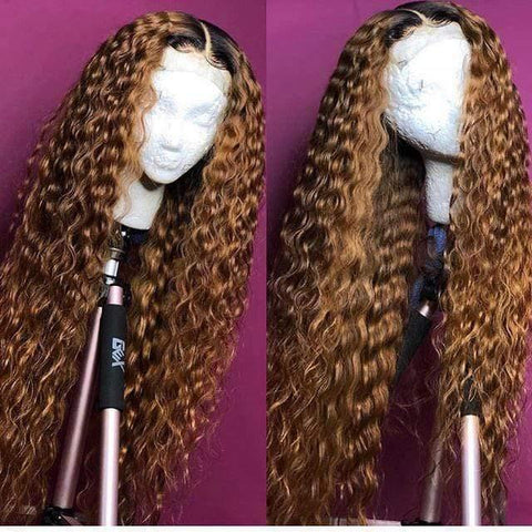 Ombre Curly Human Hair Wig 1B/30 Color  Virgin Hair Pre Plucked Bleach Knots - omgbeautyhair