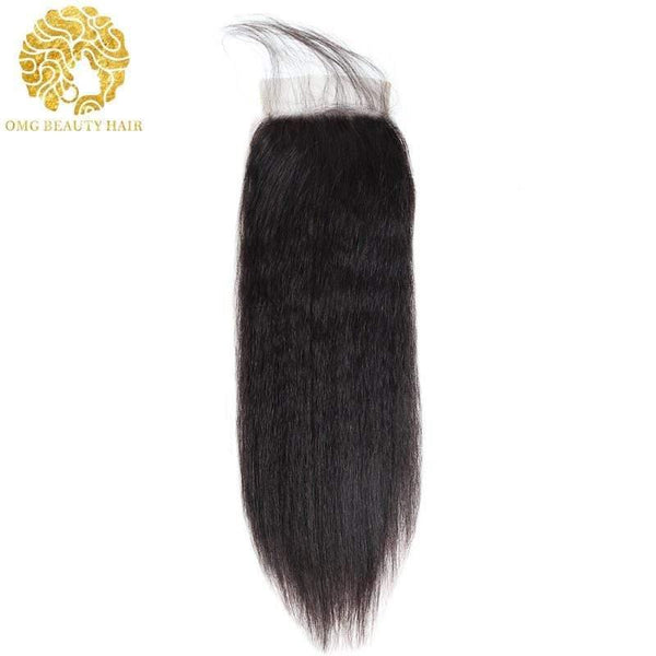 Kinky Straight 3/4 Bundles With Closure Brazilian Human Hair With Lace Closure Natural Color - omgbeautyhair