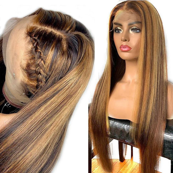#4/27 Hightlight Lace Front Human Hair Wigs Bleached Knots Pre Plucked (k) - omgbeautyhair