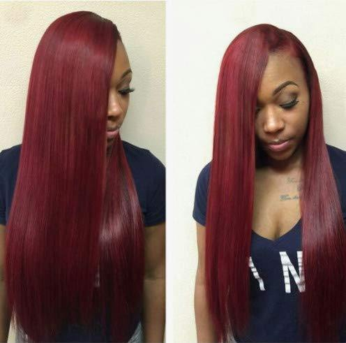 Amazing 99j Lace Front Wig Burgundy Brazilian Virgin Hair Straight Lace Front Wigs - omgbeautyhair