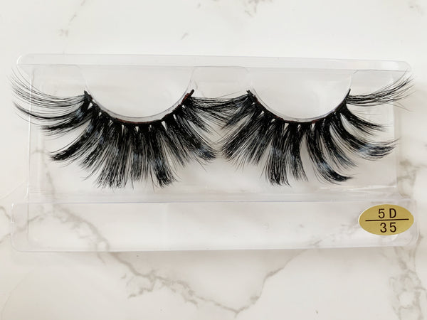 100% 5D Mink Eyelashes 25mm Wispy Fluffy Fake Lashes (5D35)
