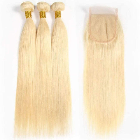 613 Blonde Human Hair Bundles With Lace CLosure 4×4 Brazilian Hair Extensions 3/4 Bundles Ship in 24hours - omgbeautyhair