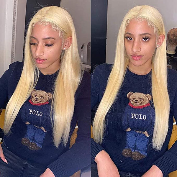 Sleek 613 Blonde Straight Lace Wigs Brazilian Virgin 100% Human Hair Blonde Wig - omgbeautyhair