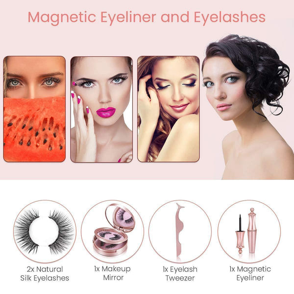 Magnetic Eyeliner Kit,2 Pairs Magnetic Eyelashes with Eyeliner, Tweezers - omgbeautyhair