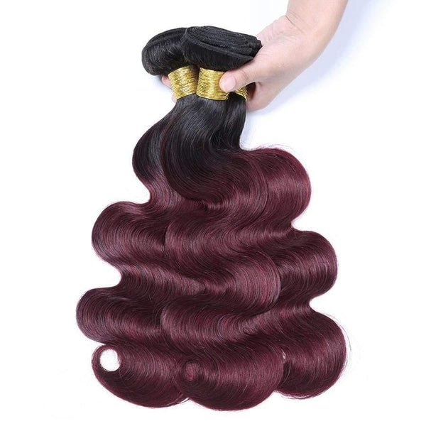 1B/99j Color Ombre Bundles With Closure Burgundy Body Wave Hair Brazilian Virgin Hair Ombre - omgbeautyhair