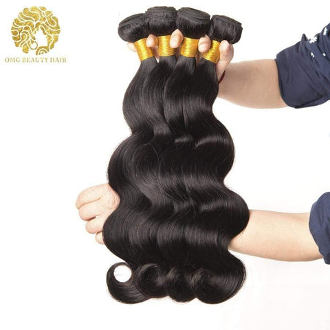 3/4Pcs Lot Body Wave Human Hair Weave Brazilian Virgin Hair Bundles Natural Color - omgbeautyhair