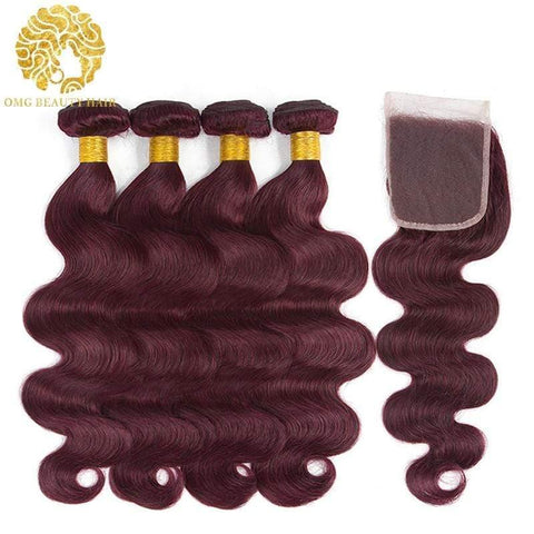 99j Color 3/4 Bundles With Closure Burgundy Body Wave Hair Brazilian Virgin Hair - omgbeautyhair