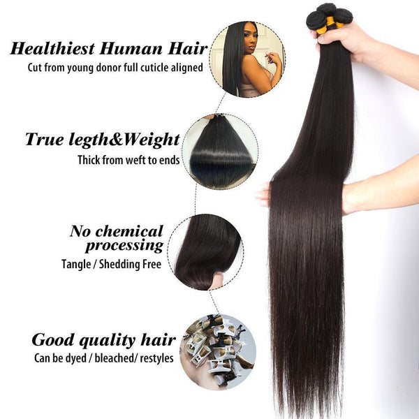 8-38 Inch Straight Human Hair Weave Brazilian Virgin Hair Bundles Human Hair Bundles - omgbeautyhair