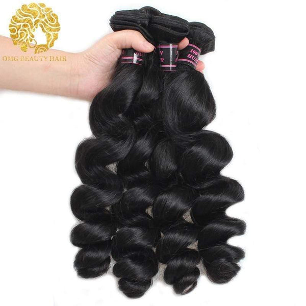 Loose Wave 3/4 Bundles With Closure Brazilian Human Hair With 4×4 Lace Closure Natural Color - omgbeautyhair