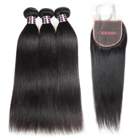 Brazilian Straight Hair Bundles With Closure 5X5 Closure With 3 Bundles Hair 100% Human Hair Bundles With Closure - omgbeautyhair