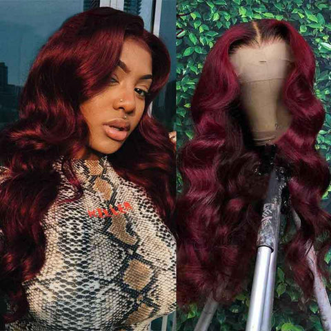 Body Wave 99J Colored Lace Front Human Hair Wigs Burgundy Full Lace Wig - omgbeautyhair