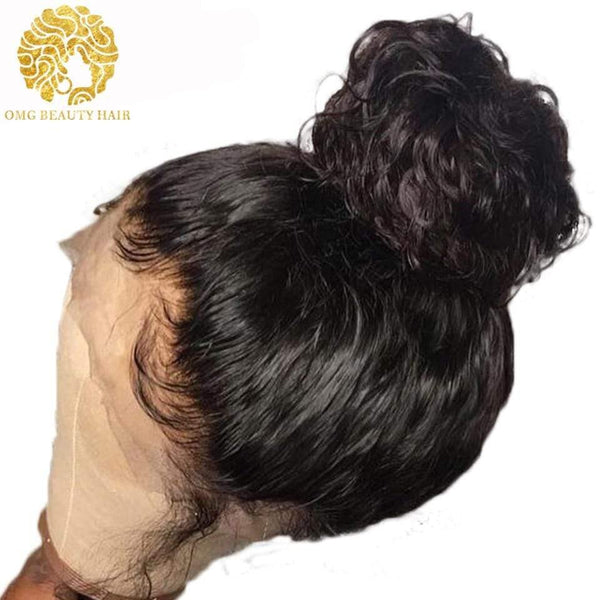Cheap 360 Lace Frontal Wigs Curly Human Hair Wig With Baby Hair High Ponytail Pre Plucked - omgbeautyhair