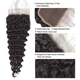 Deep Wave 3/4 Bundles With Closure Brazilian Human Hair With Lace Closure Natural Color Ship From US - omgbeautyhair