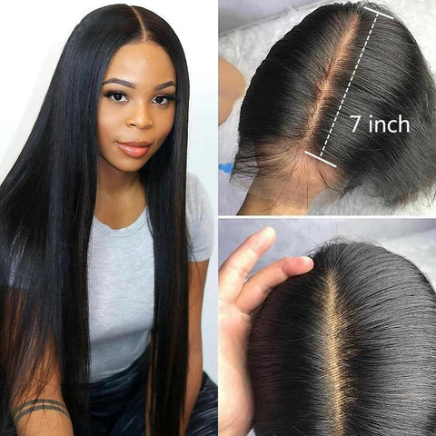 7x7 Lace Closure Wig Brazilian Long Straight Human Hair Wigs for Women Virgin Hair Lace Wigs - omgbeautyhair