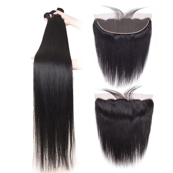 Straight Bundles With 13x4 Lace Frontal 100% Brazilian Virgin Human Hair - omgbeautyhair