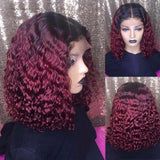 150% Density Lace Front Human Hair Wigs Burgundy 1B/27 Blonde, 1B/99J,Natural Black - omgbeautyhair
