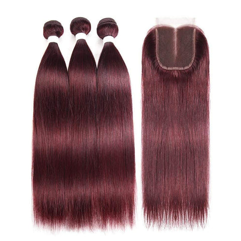 99j Color 3/4 Bundles With Closure Burgundy Straight Hair Brazilian Virgin Hair - omgbeautyhair